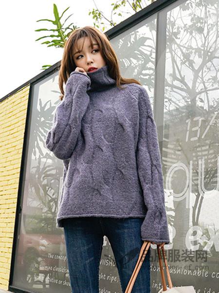 百变伊伊女装2017秋冬韩版格纹宽松高领套头毛衣打底衫