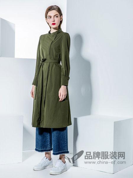 城市格调女装2017秋冬韩版连衣裙系带长袖大摆收腰外套