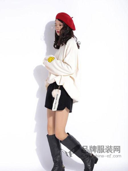 玩加女装2017秋冬韩版套头圆领长袖中长款卫衣