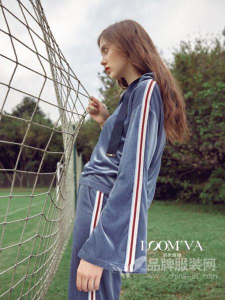 loomva洛米唯娅女装2018春夏休闲卫衣套装金丝绒阔腿裤套装