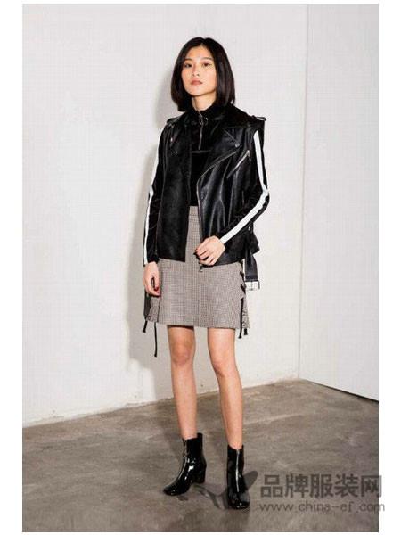 MDC女装2017秋冬皮夹克短款黑色机车皮衣PU皮外套上衣