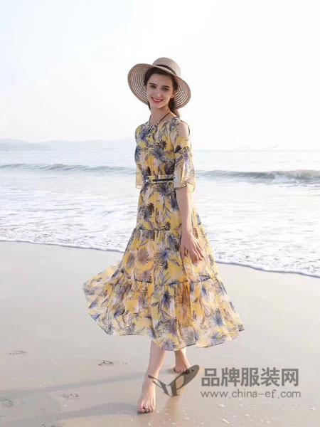 JAOBOO 乔帛女装2018春夏波西米亚印花雪纺花色裙V领松紧腰短袖连衣裙