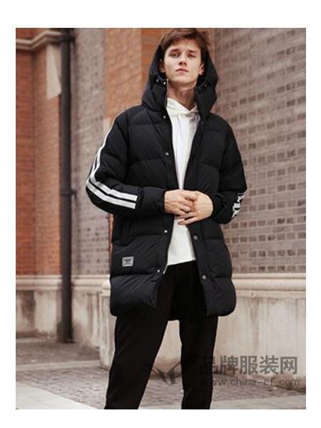 摩迪卡宾男装2017秋冬韩版修身男士连帽 白色加厚长款羽绒服