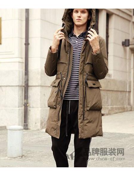 摩迪卡宾男装2017秋冬中长款修身连帽羽绒大衣青年男装鸭绒大衣
