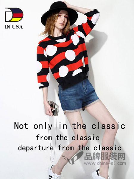 DIame.USA女装2018春夏版百搭时尚针织白点图案黑红长袖毛衣
