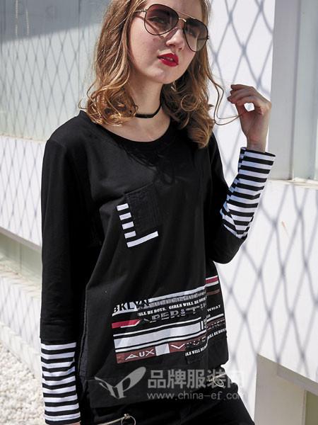 JISUO女装2018春夏时尚休闲个性条纹拼接卫衣