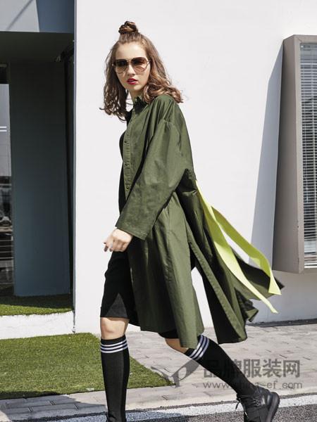 JISUO女装2018春夏休闲个性中长军绿色风衣