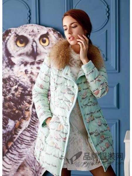天衣布品女装2017秋冬修身加厚羽绒棉服冬装大毛领外套