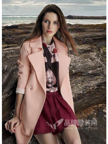 天衣布品女装2017秋冬双面羊绒大西装领纯手工经典驼色大衣外套
