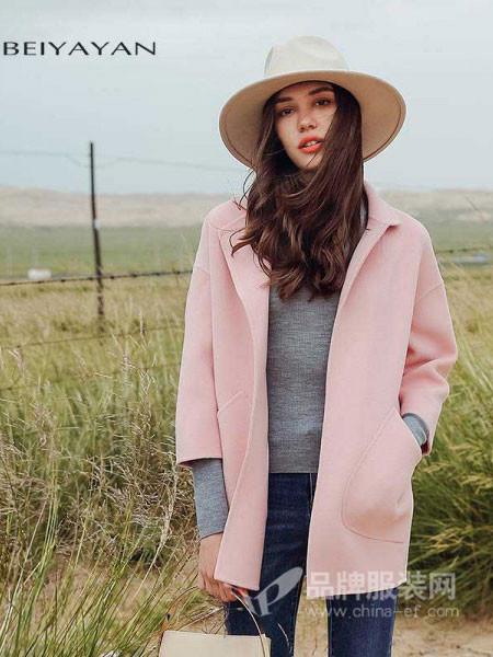 贝雅颜女装2017秋冬韩版无扣七分袖双面呢子大衣宽松上衣