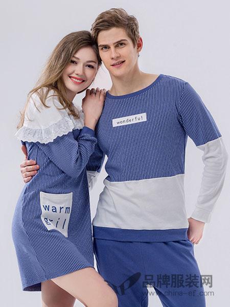 桃花季睡衣2018春夏家居服套装纯棉长袖男士韩版甜美套装