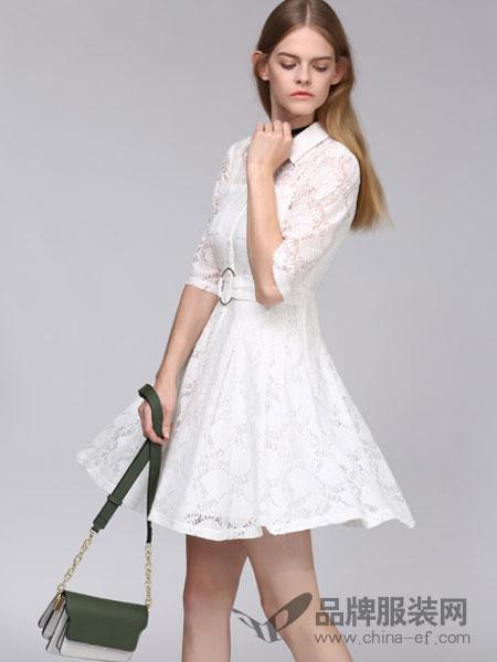 百图女装2018春夏短款修身显瘦连衣裙