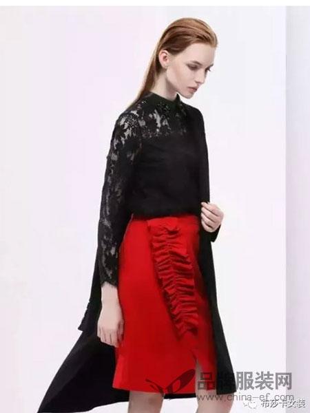 布莎卡女装2017秋冬长袖性感蕾丝百搭上衣
