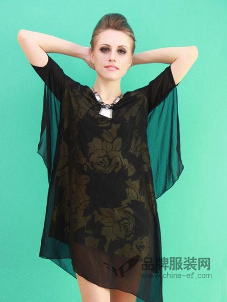 COCOLAN女装时尚个性网纱不规则边连衣裙