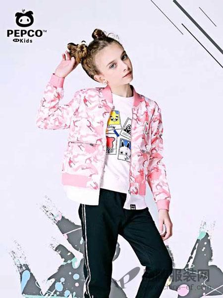 小猪班纳童装品牌2018春夏时尚无领粉色女外套