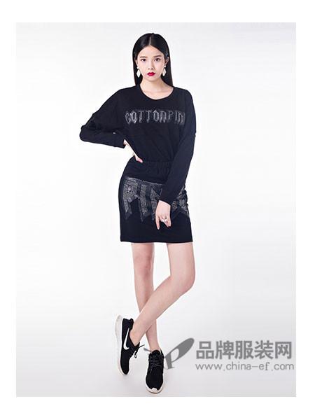 cottonpink女装时尚休闲字母T恤