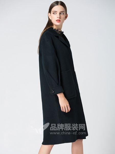 姝菲儿女装2017秋冬欧式时尚优雅中长呢子风衣外套