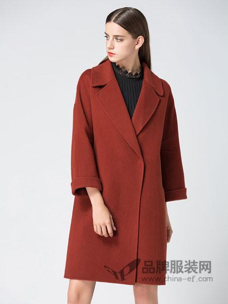 姝菲儿女装2017秋冬长款翻领腰带宽大焦糖色呢大衣