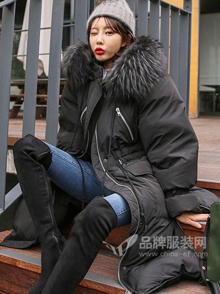 MISSLI女装2017秋冬大毛领长款羽绒服女冬宽松过膝加厚新款收腰外套