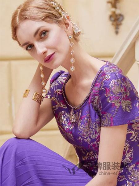木帛女装2018春夏欧式气质紫色印花连衣裙