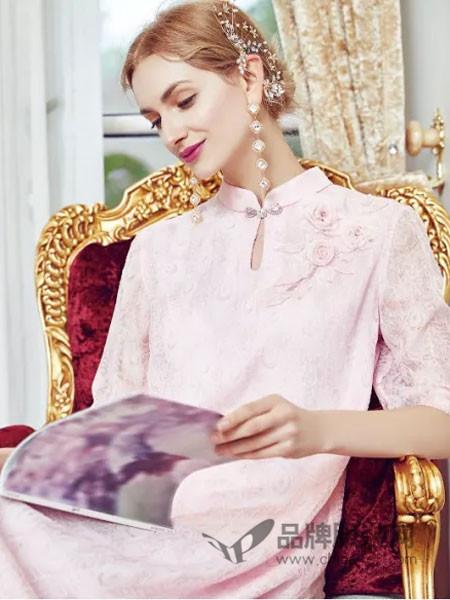 木帛女装2018春夏中国风复古淡雅气质旗袍连衣裙