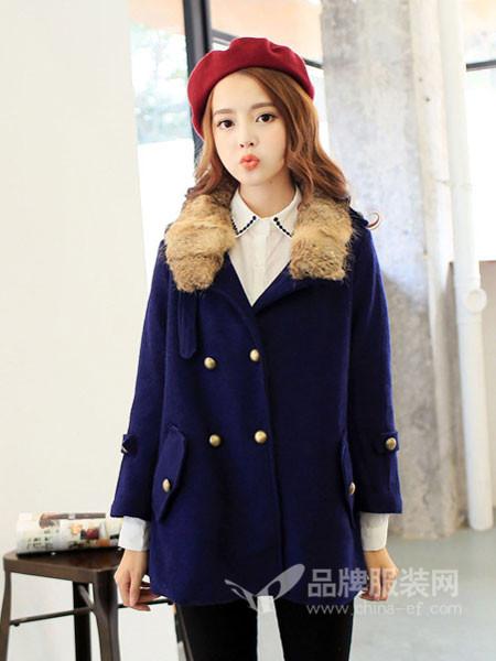 戈多女装韩式毛领双排扣呢子外套