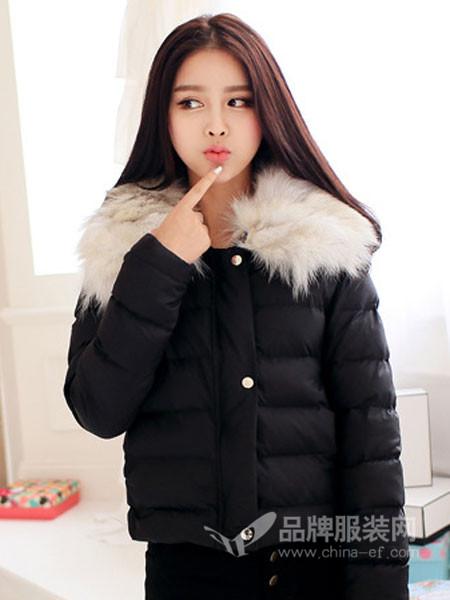 戈多女装时尚大毛领短装棉衣外套