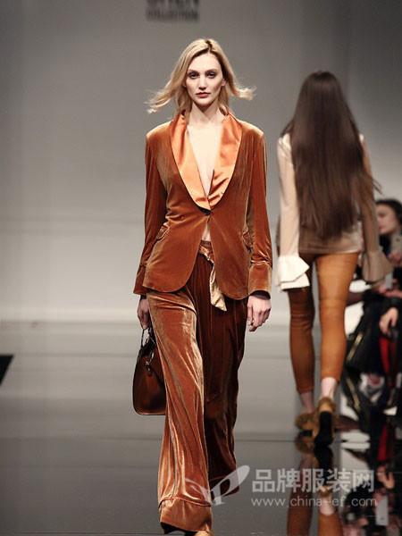 凯伦诗女装2017秋冬金丝绒西服欧美高端气质修身丝绒小西装天鹅绒外套