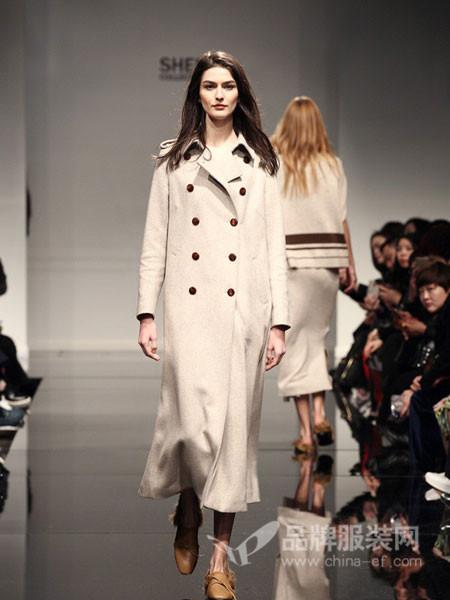 凯伦诗女装2017秋冬中长款双排扣修身秋冬外套呢大衣