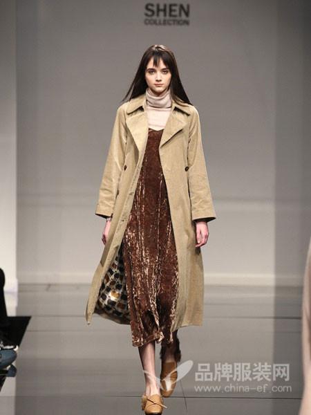 凯伦诗女装2017秋冬气质纯色双排扣中长款长袖风衣