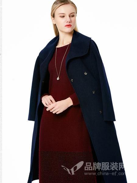 白翎风采女装2017冬季毛呢外套羊毛双面呢