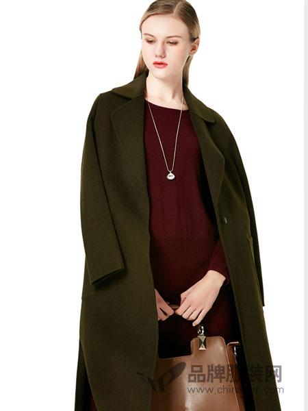 白翎风采女装2017冬季新款双面毛昵羊绒大衣时尚气场长款开叉外套