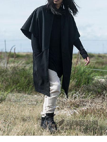 Musee Noir男装宽松大码中长款落肩翻领大衣外套