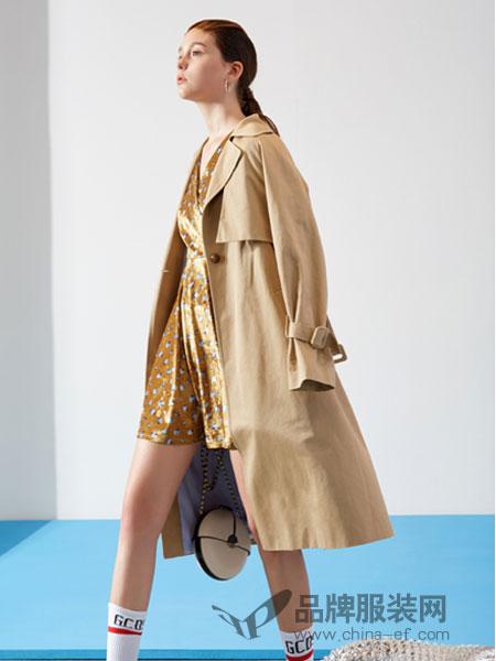 YDG女装2018春夏气质驼色翻领中长款风衣外套