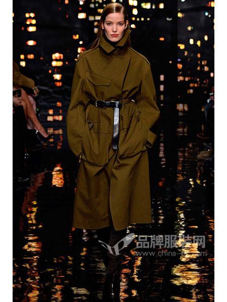 唐娜・凯伦女装系腰带长款毛呢大衣外套