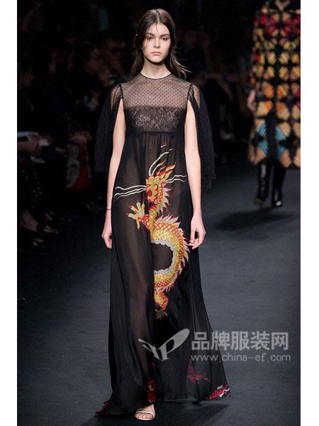 唐娜・凯伦女装时尚优雅长款刺绣网纱连衣裙