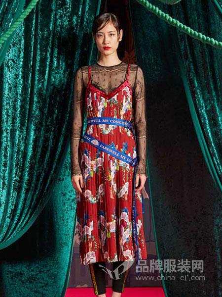 密扇女装无袖印花拼接露背中长款连衣裙
