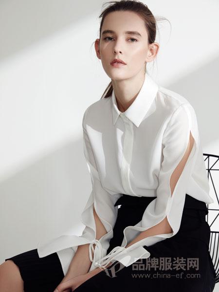 名实女装2018春夏时尚修身开叉袖百搭衬衫