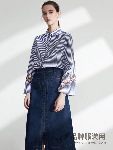 名实女装2018春夏时尚竖条绣花长袖衬衫