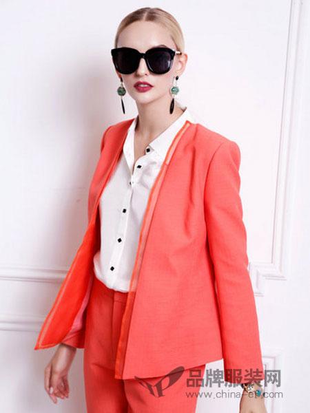米莲莎女装2018春夏橙色双襟混毛真丝西装外套女时尚商务女装