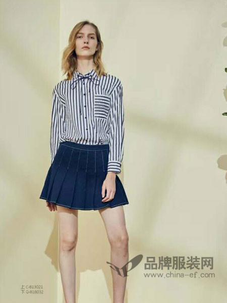 婉枫女装2018春夏欧式条纹系带领衬衣