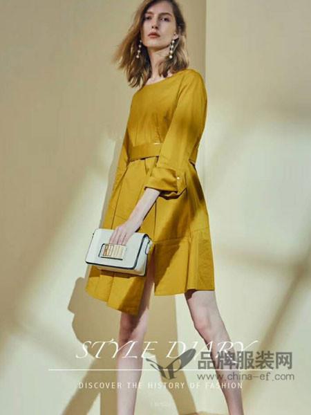 婉枫女装2018春夏时尚优雅气质收腰连衣裙