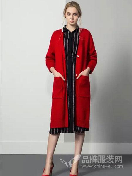 JUST&TH女装时尚针织中长款开衫外套