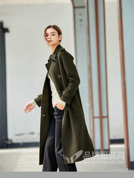 诗萌蒂女装2017秋冬中长款韩版大码军绿色收腰呢子大衣