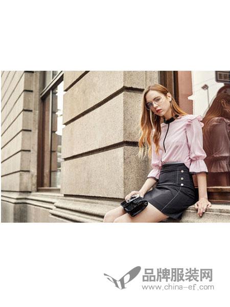JFMS女装2018春夏高端时尚灯笼袖百搭衬衫
