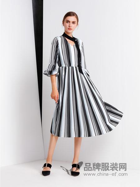 拍普儿女装2018春夏衬衫式长款竖条纹收腰系带修身度假上班连衣裙