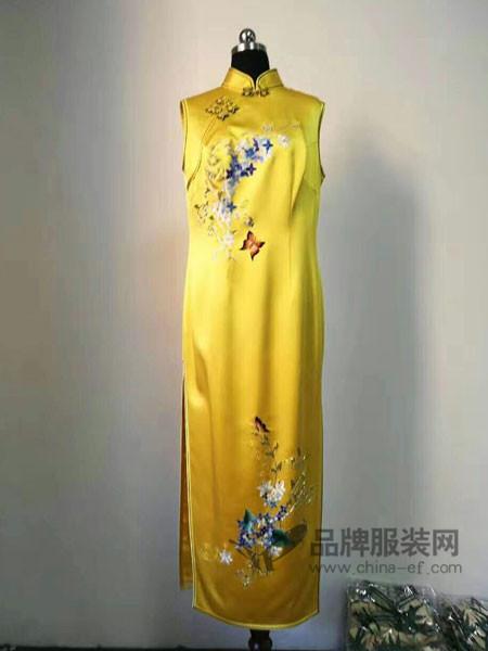 凤色年华女装中式复古长款无袖旗袍连衣裙
