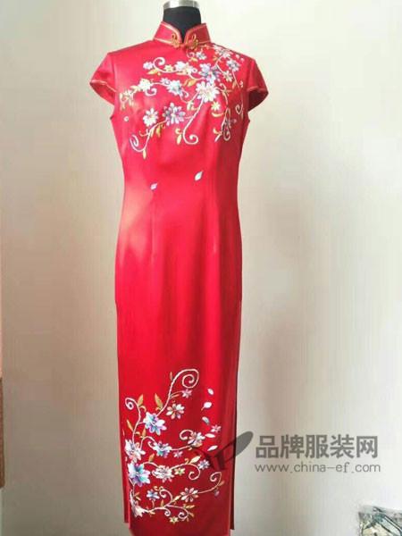凤色年华女装中式复古长款短袖旗袍连衣裙