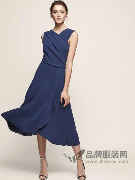 蕊丝女装通勤淑女修身V领中长款连衣裙礼服