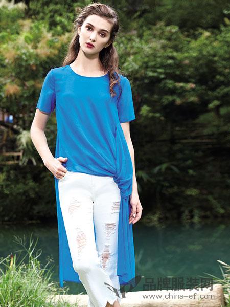楚阁女装2018春夏时尚不规则圆领短袖上衣